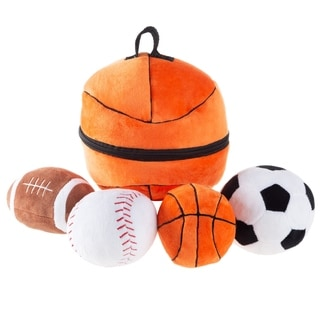 My First Sports Bag Playset- Plush Soccer, Baseball, Basketball & Football for Babies, Infants & Toddlers by Hey! Play!