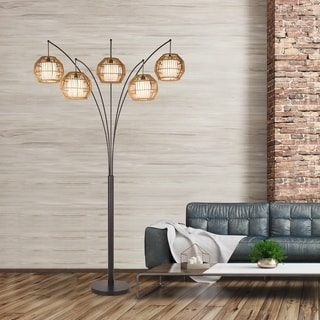 "Artiva Bali 88"" Oil Rubbed Bronze LED Arc lamp w/ Hancrafted Rattan, Dimmer"