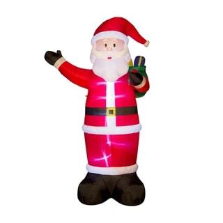 Glitzhome 11.8'H Christmas Lighted Inflatable Santa Decor