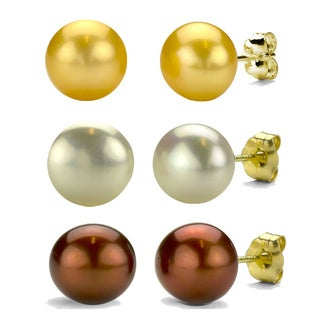 DaVonna 14k Gold Brown White and Golden FW Pearl Stud Earrings Set (9-10 mm)