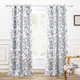 "DriftAway Jasmine Watercolor Flower Blackout Window Curtain Panel Pair - 52"" width x 84 "" length"