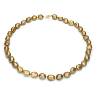 DaVonna 10k Yellow Gold Golden Baroque FW Pearl 18-inch Necklace (10-11 mm)