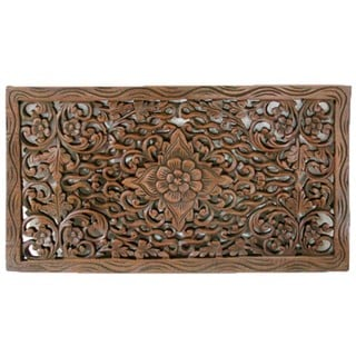 Reclaimed Teak Wood Lotus Carving (Thailand)