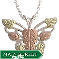 Black Hills Gold and Silver Butterfly Necklace
