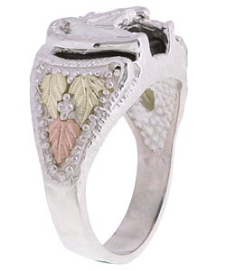 Black Hills Gold and Silver Horse Head Mens Ring