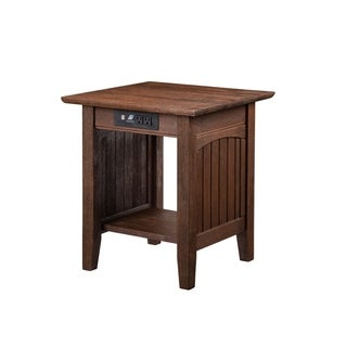 Nantucket End Table with Charging Station in Burnt Amber