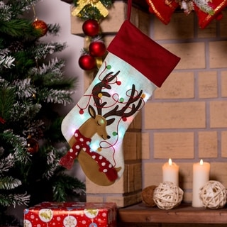 "Glitzhome 21""L LED Embroidered Linen Christmas Stocking"