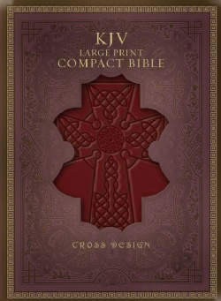 Holy Bible: King James Version, Burgundy, Simulated Leather, Compact, Cross Design (Paperback)
