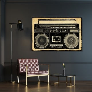 Oliver Gal 'Ghetto Blaster Print' Music and Dance Wall Art Canvas Print - Black, White