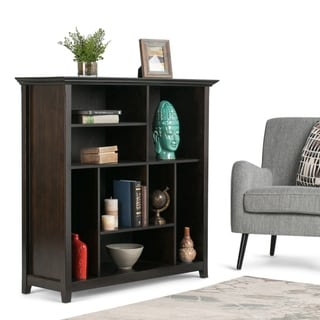 WYNDENHALL Halifax SOLID WOOD 44 inch x 44 inch Transitional Multi Cube Bookcase and Storage Unit in Hickory Brown