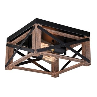 Colton 12-in W Brown Wood Cage Flush Mount Ceiling Light Fixture - 12-in W x 6.5-in H x 12-in D
