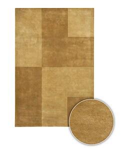 Handmade Contemporary Gold Mandara Rug (8' x 11')