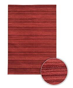 Handmade Contemporary Red Striped Alba Rug (8' x 11')