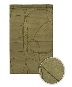 Green Hand-tufted Contemporary Mandara Rug (8' x 11')