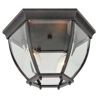 2 Light Outdoor Ceiling Lantern in Oil Rubbed Bronze and Clear Glass