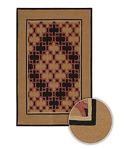 Bordered Hand-Tufted Mandara Contemporary Wool Rug (8' x 11')