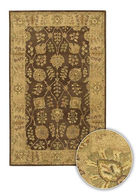 Hand-Tufted Transitional Mandara Brown Wool Rug (8' x 11')