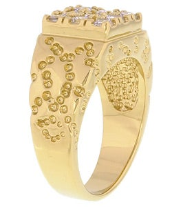 Simon Frank 14k Yellow Gold Overlay Men's Square Cube Ring