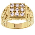 Simon Frank 14k Yellow Gold Overlay Men's Square Cube Ring