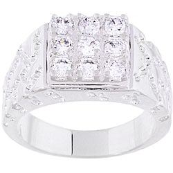 Simon Frank 14k White Gold Overlay Men's Square Cube Ring