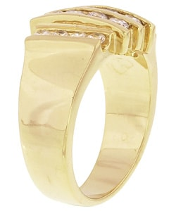 Simon Frank 14k Gold Overlay Men's Layered Diamoness Ring