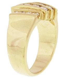 Simon Frank 14k Gold Overlay Men's Layered Diamoness Ring