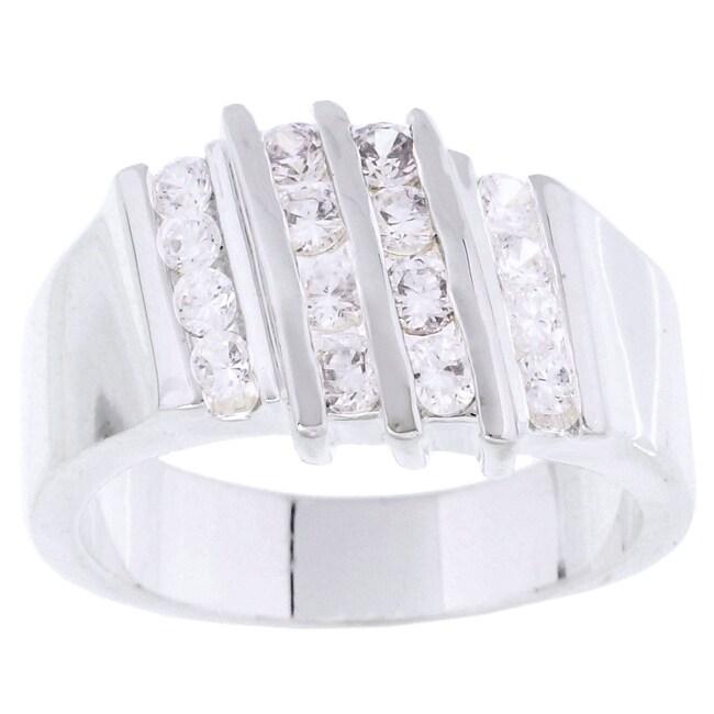 Simon Frank 14k White Gold Overlay Layered Diamoness Ring