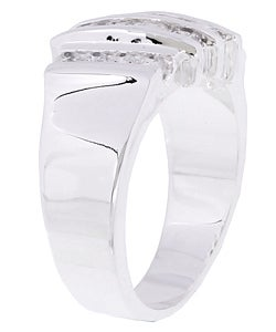 Simon Frank 14k White Gold Overlay Layered Diamoness Ring