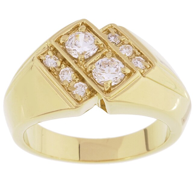 Simon Frank 14k Gold Overlay Double Dare Cubic Zirconia Ring