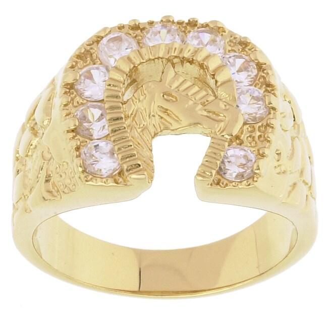 Simon Frank 14k Yellow Gold Overlay Men's Horseshoe CZ Ring
