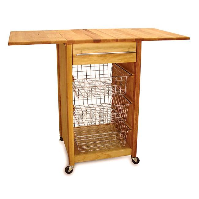 Catskill Craftsmen Drop-Leaf Wooden Basket Cart