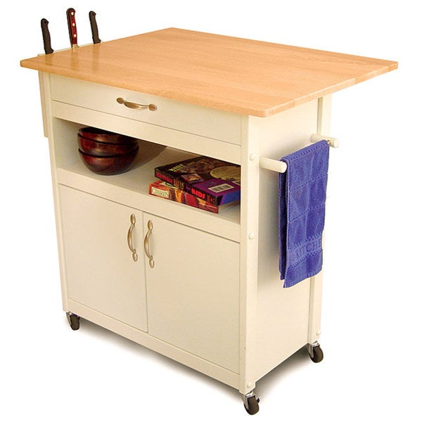White Base Kitchen Cart with Natural Top 3429191