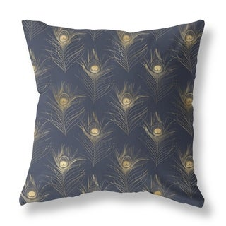 Peacock Feather Double Sided Decorative Pillow by Amrita Sen
