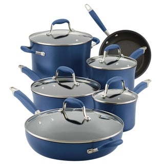 Anolon Advanced Hard-Anodized Nonstick 11-Piece Cookware Set, Indigo