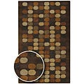 Hand-tufted Brown Multi Colored Circles Contemporary Spirit Wool Abstract Rug (2'6 x 8') with Free Abstract Rug Pad
