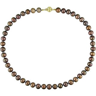 Miadora Brown Cultured Freshwater Pearl Necklace (8-9 mm)