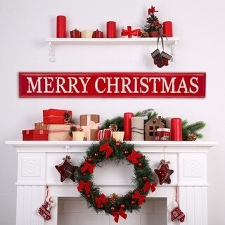 """Glitzhome 45.75''L Enameled Metal """"MERRY CHRISTMAS"""" Wall Sign"""