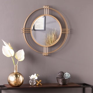 Silver Orchid Iness Art Deco Gold Round Wall Mirror