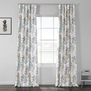Exclusive Fabrics Palms Green Printed Linen Textured Blackout Curtain
