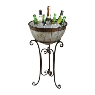 Galvanized Metal Standing Beverage Cooler Tub with Liner