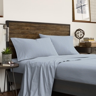 IZOD Double Pinstripe Blue/White 2-pack Bed Sheet Set