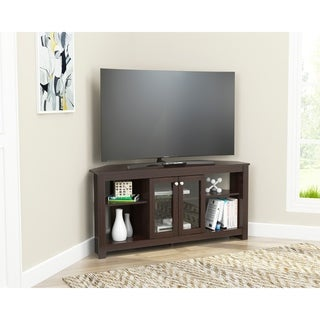 Copper Grove Guanape Corner TV Console with Glass Doors