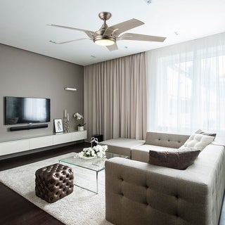 CO-Z 56-inch Contemporary Brushed Nickel 5 Blade Ceiling Fan with Light Kit and Remote Control