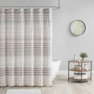Urban Habitat Charlie Cotton Yarn Dye Shower Curtain with Pom Poms