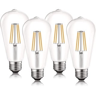 Luxrite Vintage LED Edison Bulb 60W Equivalent, ST19 ST58, 2700K Warm White, 550 Lumens, Dimmable, E26 Base (4 Pack)