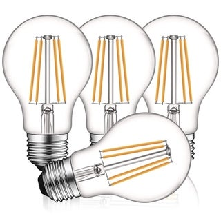 Luxrite Vintage A19 LED Light Bulbs 60W Equivalent, Dimmable, 800 Lumens, LED Edison Bulb 8W, E26 Base (4 Pack)