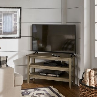 Porch & Den Shaw Weathered Grey Corner TV Stand