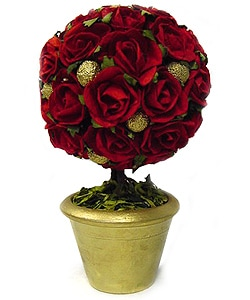 Kabella Red Rose and Gold Ball Topiary Tree