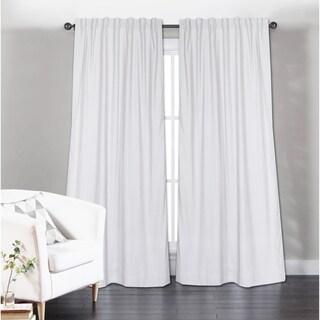 Porch & Den Davies White Solid Cotton Curtain Panel