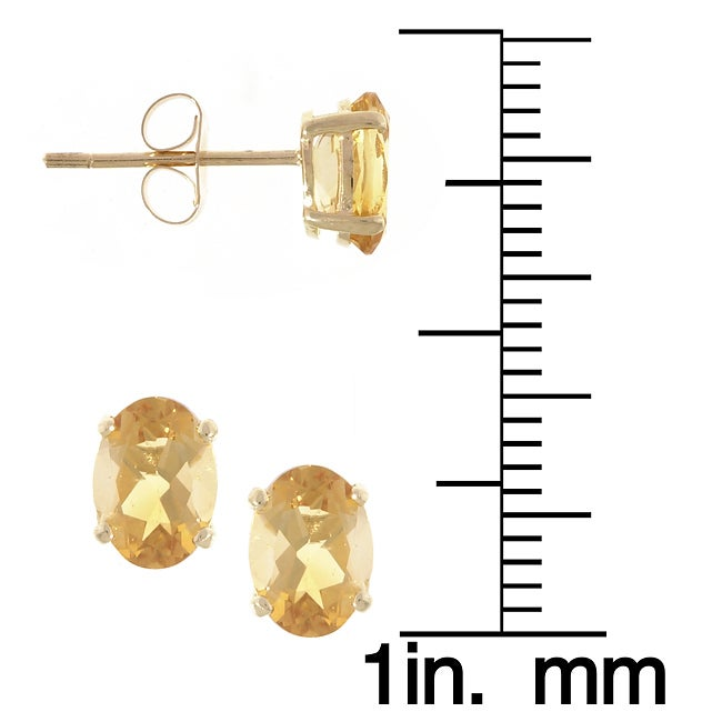 Kabella 14k Yellow Gold Oval Citrine Stud Earrings